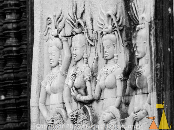 Apsara dancers, Angkor Wat, Siam Reap, Cambodia, Angkor, temple, stone carving, black and white