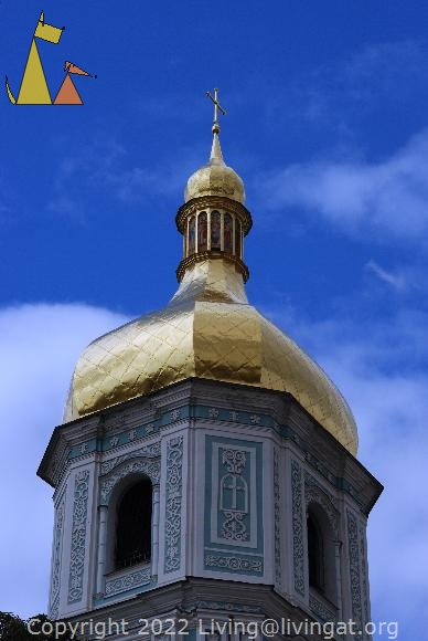 Bell tower, Kiev, Ukraine, bell tower, church, gold dome, blue sky