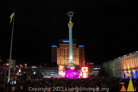 Big party, Kiev, Ukraine, Independence square, Mother Ukraine, Independence Column, party, night shoot