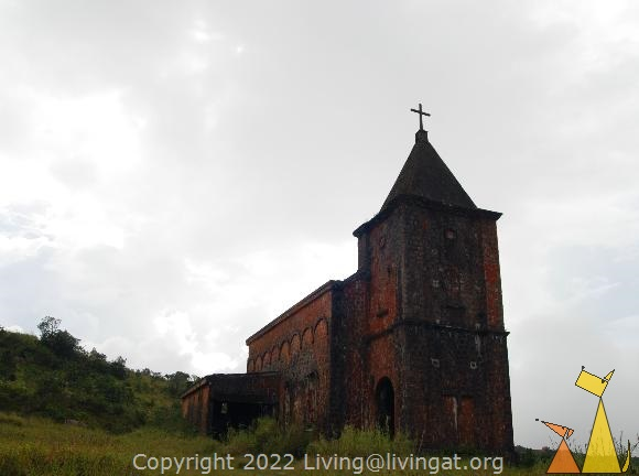 Bokor church, Bokor Hill Station, Kampot, Cambodia, church, ruin, abandoned, fog, brick, cross