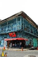 Caribbean style Cafe, Casco Veijo, Panama City, Panama, rough building, blue, cafe, coca cola
