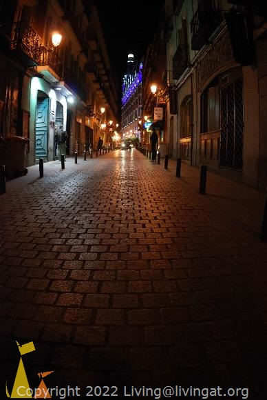 Cobblestone at Night, Madrid, Spain, street, road, dark, night, lights, cobbestones
