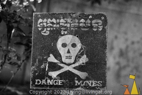 Danger Mines, War Museum, Siem Reap, Cambodia, landmine, warning sign, danger mines, scull and bones, minefield
