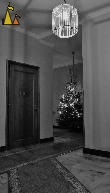 Dark Labyrint, Skeppargatan, Stockholm, Sweden, skeppargatan 11, black and white, light, christmas tree