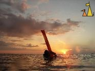 Diver in sunset, Ko Tachai, Thailand, diver, sunset