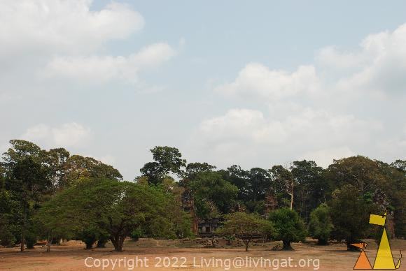 Elephant Therass, Elephant Therass, Angkor, Cambodia, dry, open field, ruins, forest, trees