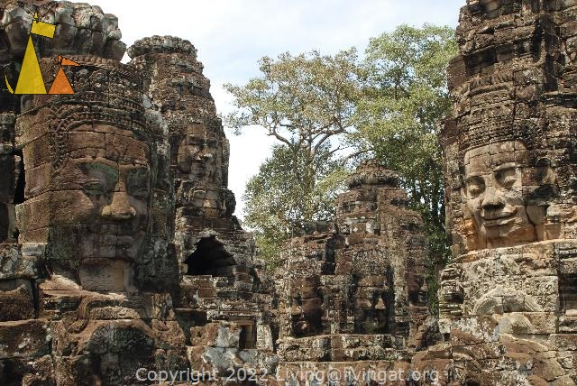 Faces at Bayon, Angkor Thom, Cambodia, Smaileing faces, Bayon, Cambodia