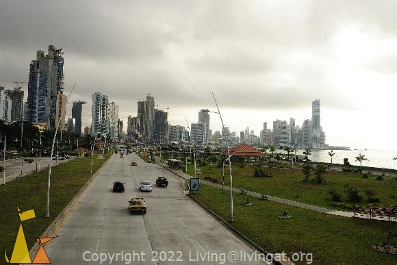 Financial District, Panama City, Panama, building, car, road, taxi