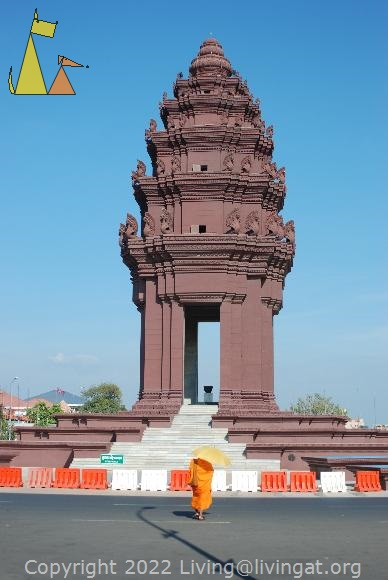 Independence Monument, Phnom Penh, Cambodia, Monument, monk, roundabout