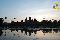 Minutes bofore sunrise, Angkor Wat, Siem Reap, Cambodia, temple, Angkor Wat, silhouette, scaffold