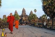 Monk leaving Angkor Wat, Angkor Wat, Siem Reap, Cambodia, temple, monk, stone way