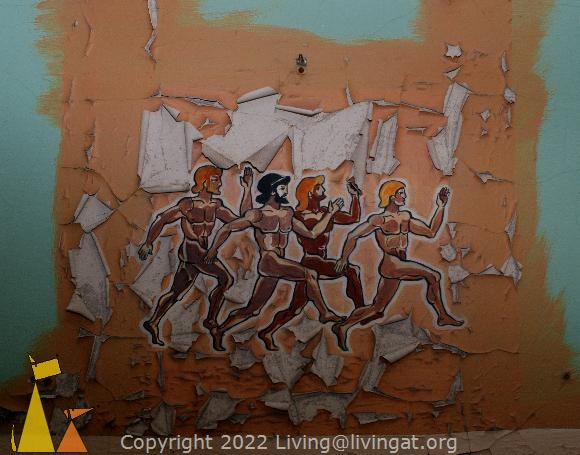 Naked men, Pripyat, Ukraine, Olympics, painting, naked men, running