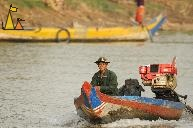 Old Man in a Boat, Battambang, Cambodia, man, boat, river, engine