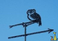 Owl weather vane, Landet, Sweden, wind, owl, rime, blue skyes, weather vane