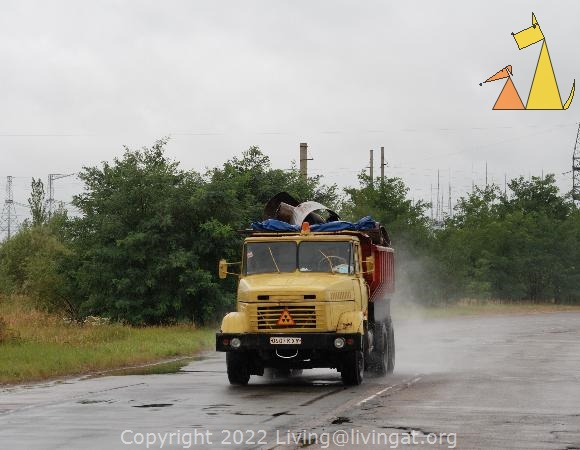 Radioactive waste, Chernobyl, Ukraine, truck, driving, road, radioactive, waste