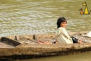 Smiling Girl in Canoe, Battambang, Cambodia, girl, smile, canoe