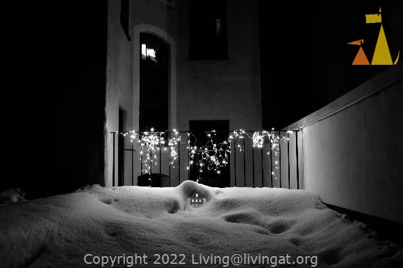 Snowy Backyard, Skeppargatan, Stockholm, Sweden, skeppargatan 11, snow, lights, house, fence, night, dark, black and white